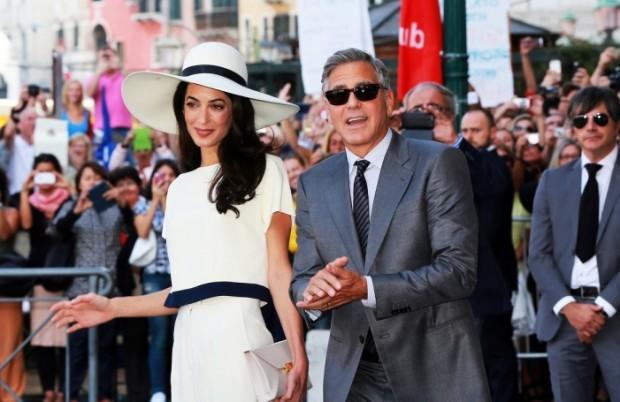 Джордж Клуни и Амаль Амалуддин в Венеции после свадьбы