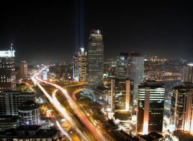 ночной город Стамбул