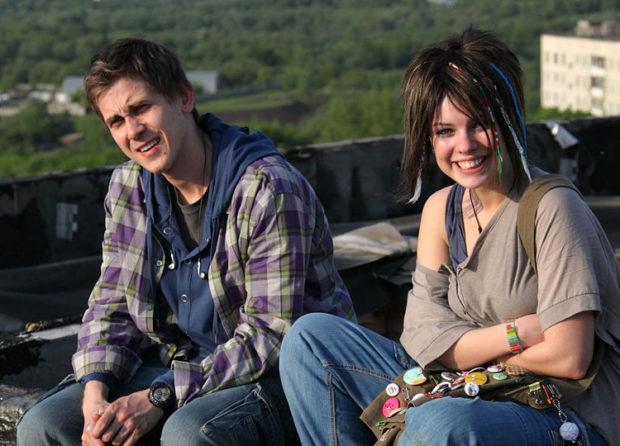 Анна Старшенбаум и Дмитрий Кубасов на съёмках фильма «Детям до 16...»