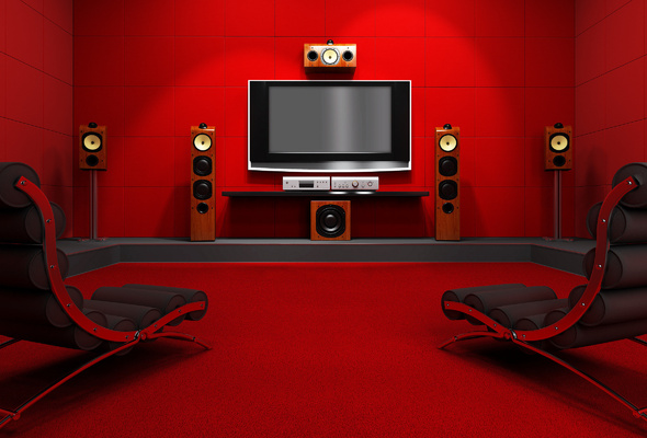 Телевизор с подключенной аудиосистемой