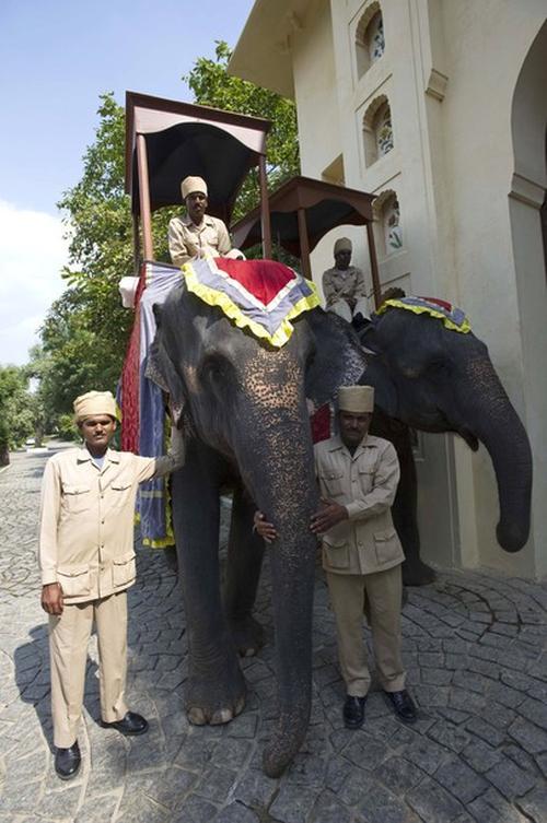 Работники индийского отеля встречают гостей