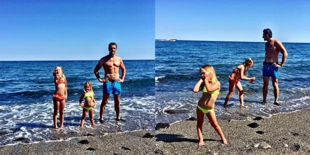 Муж и дочки Глюкозы на берегу моря