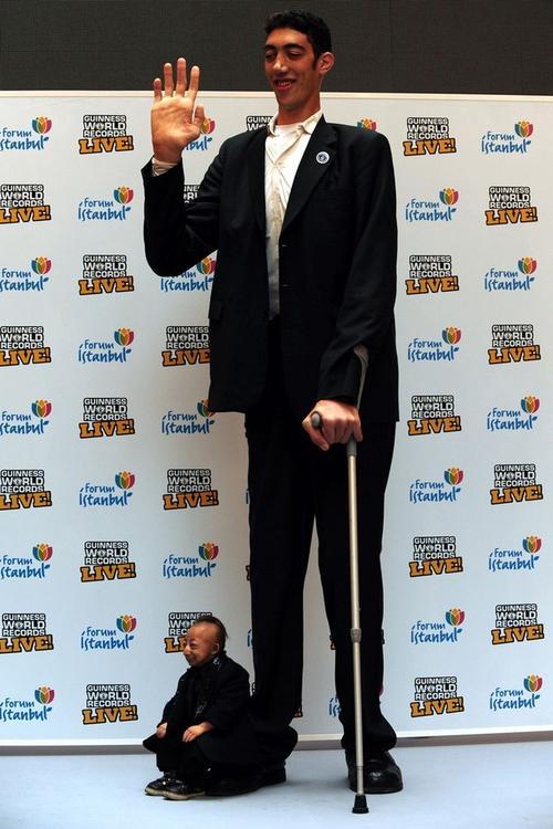 Самый маленький человек в мире Хи Пингпинг (He Pingping) и самый высокий - Султан Косен (Sultan Kosen)