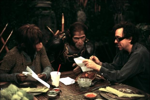 Хелена Бонем Картер и Тим Бёртон на съёмках фильма Планета обезьян
