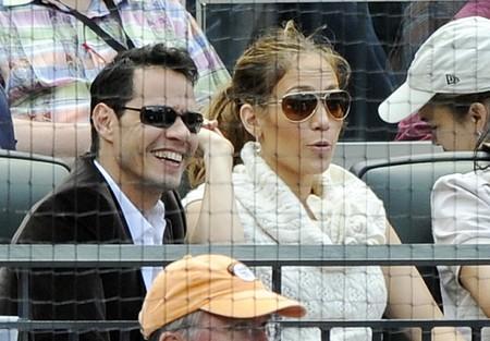 Дженнифер Лопез и Марк Энтони на бейсболе