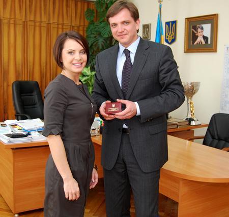 Лилия Подкопаева и украинский министр по делам молодежи Юрий Павленко