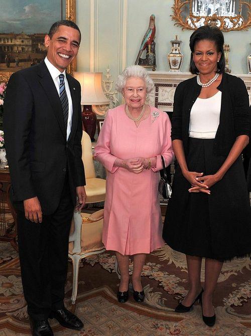 Барак и Мишель Обама с королевой Елизаветой