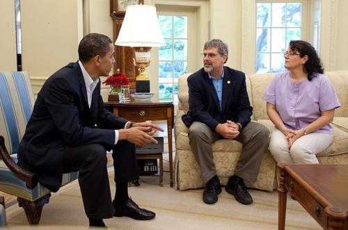 Капитан Ричард Филлипс с женой на встрече у президента Барака Обамы