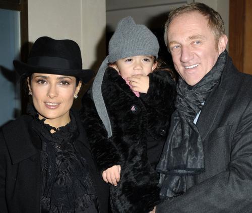 Сальма Хайек и Франсуа Анри-Пино с дочерью Валентиной Паломой