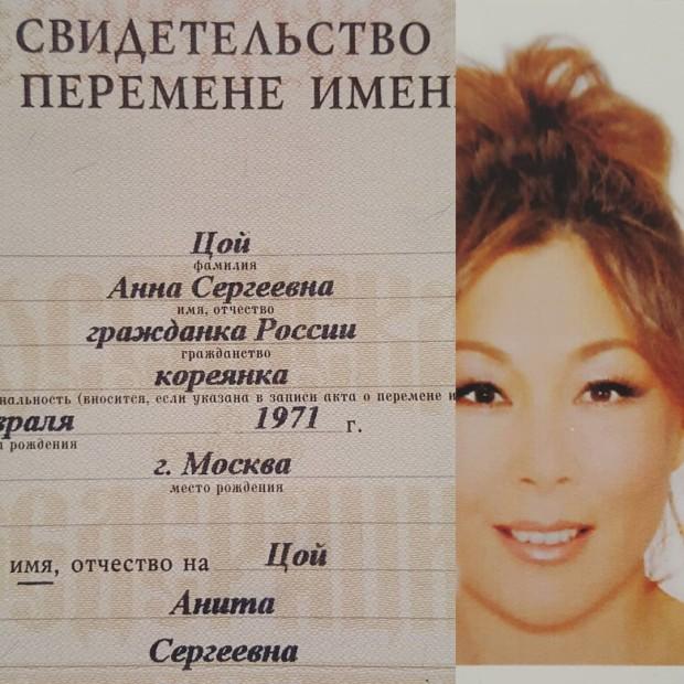 Свидетельство о смене имени Аниты Цой