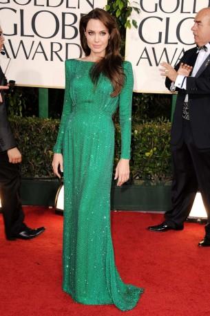 Анджелина Джоли в зелёном платье